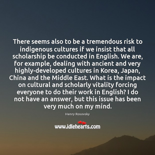 Image, There seems also to be a tremendous risk to indigenous cultures if