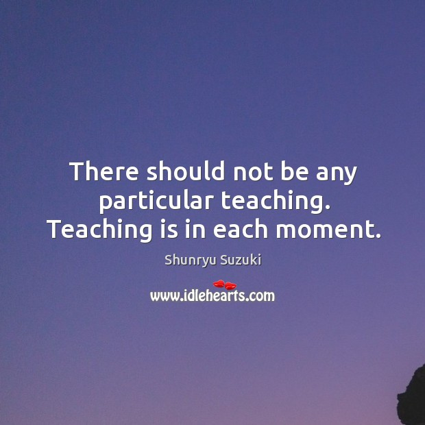 There should not be any particular teaching. Teaching is in each moment. Image
