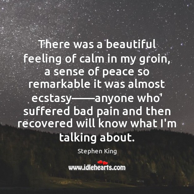 There was a beautiful feeling of calm in my groin, a sense Image