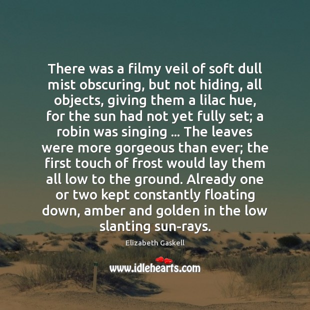 There was a filmy veil of soft dull mist obscuring, but not Elizabeth Gaskell Picture Quote