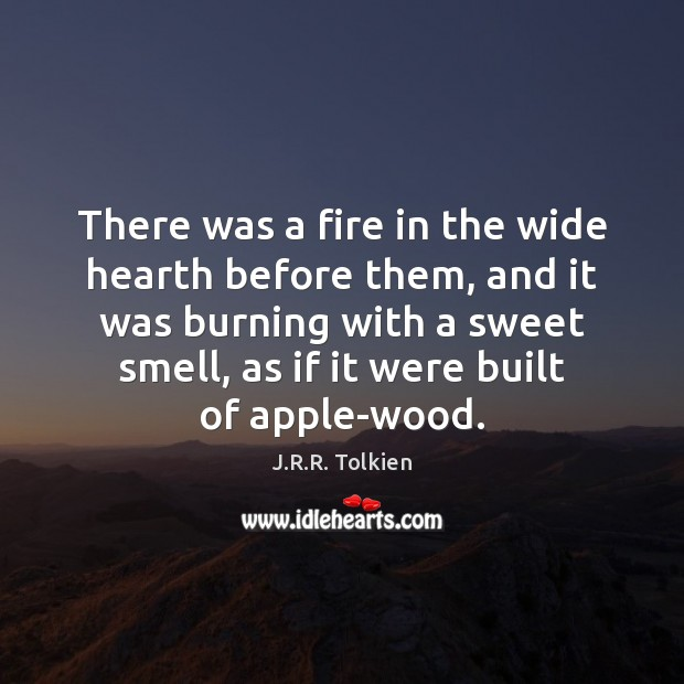 There was a fire in the wide hearth before them, and it Image