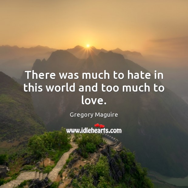 Image, There was much to hate in this world and too much to love.