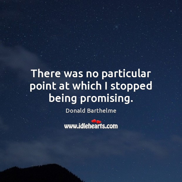 There was no particular point at which I stopped being promising. Donald Barthelme Picture Quote