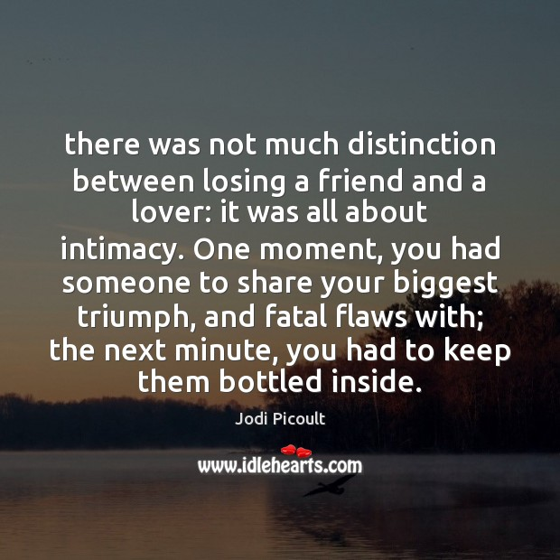 There was not much distinction between losing a friend and a lover: Jodi Picoult Picture Quote