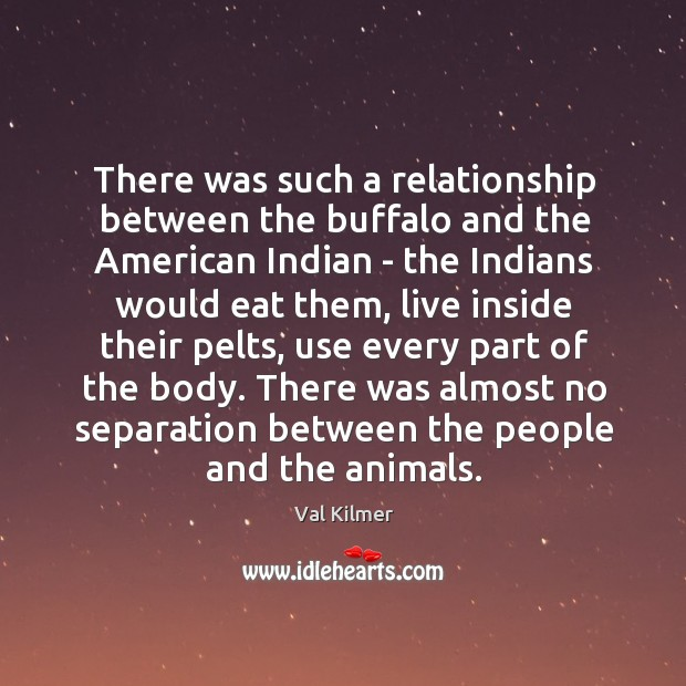 There was such a relationship between the buffalo and the American Indian Image