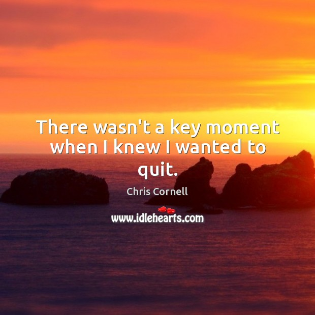 Image, There wasn't a key moment when I knew I wanted to quit.