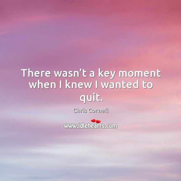 There wasn't a key moment when I knew I wanted to quit. Chris Cornell Picture Quote