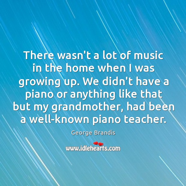 There wasn't a lot of music in the home when I was George Brandis Picture Quote