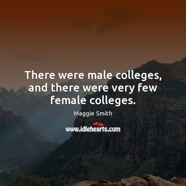 There were male colleges, and there were very few female colleges. Image