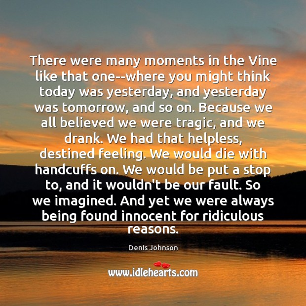 There were many moments in the Vine like that one–where you might Denis Johnson Picture Quote