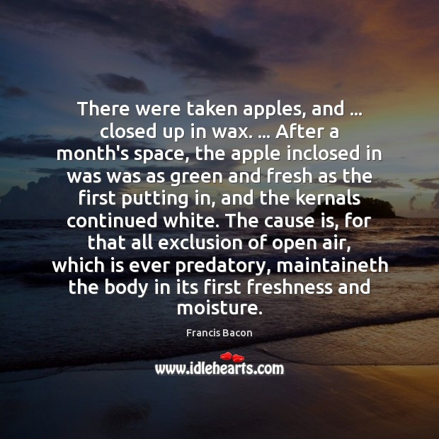There were taken apples, and … closed up in wax. … After a month's Francis Bacon Picture Quote