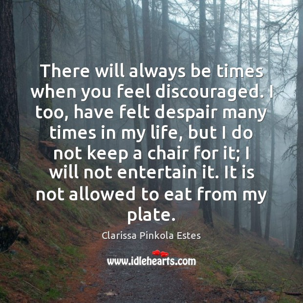 There will always be times when you feel discouraged. I too, have Clarissa Pinkola Estes Picture Quote