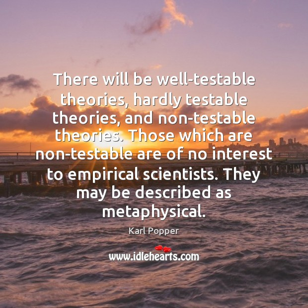 There will be well-testable theories, hardly testable theories, and non-testable theories. Those Karl Popper Picture Quote
