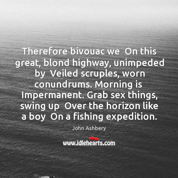 Therefore bivouac we  On this great, blond highway, unimpeded by  Veiled scruples, John Ashbery Picture Quote