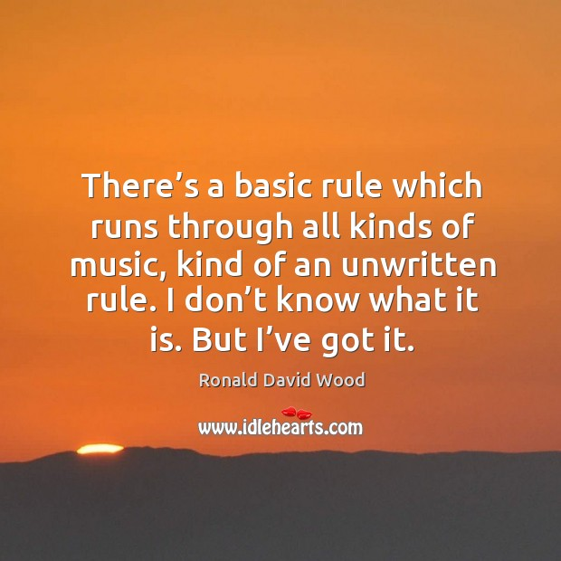 There's a basic rule which runs through all kinds of music, kind of an unwritten rule. Image
