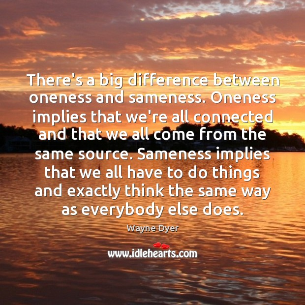 Image, There's a big difference between oneness and sameness. Oneness implies that we're