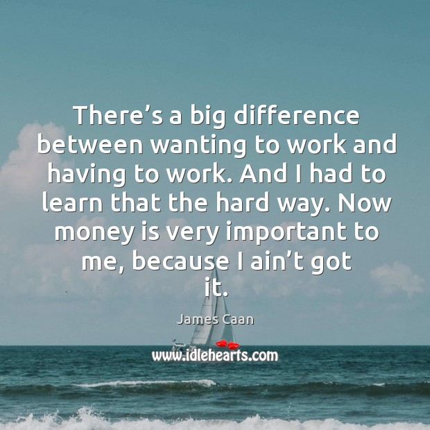 There's a big difference between wanting to work and having to work. James Caan Picture Quote