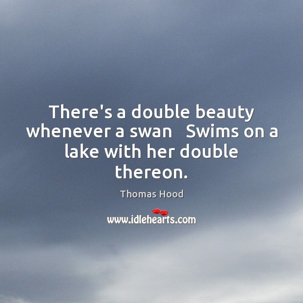 There's a double beauty whenever a swan   Swims on a lake with her double thereon. Image