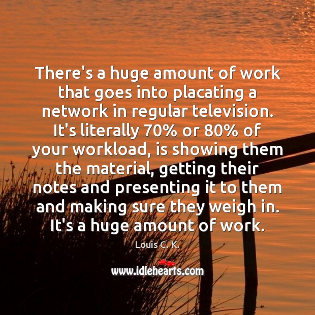 There's a huge amount of work that goes into placating a network Louis C. K. Picture Quote