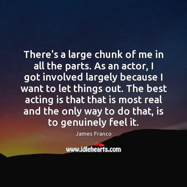 There's a large chunk of me in all the parts. As an James Franco Picture Quote