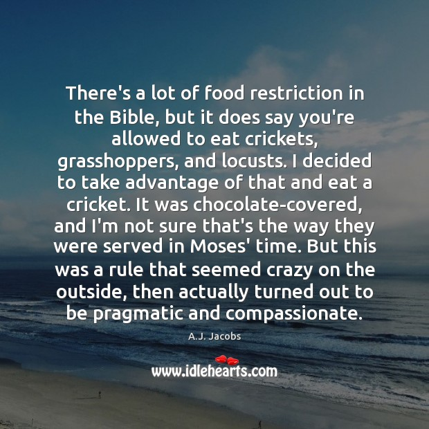 There's a lot of food restriction in the Bible, but it does Image