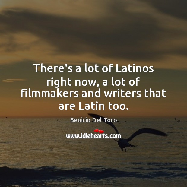 There's a lot of Latinos right now, a lot of filmmakers and writers that are Latin too. Benicio Del Toro Picture Quote