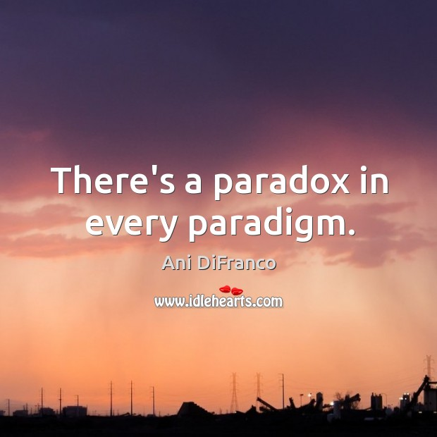 There's a paradox in every paradigm. Ani DiFranco Picture Quote