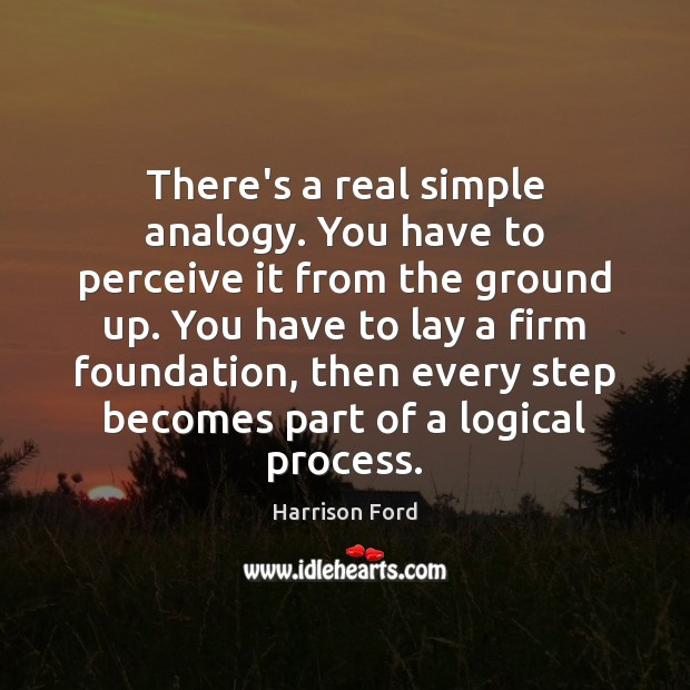 There's a real simple analogy. You have to perceive it from the Harrison Ford Picture Quote