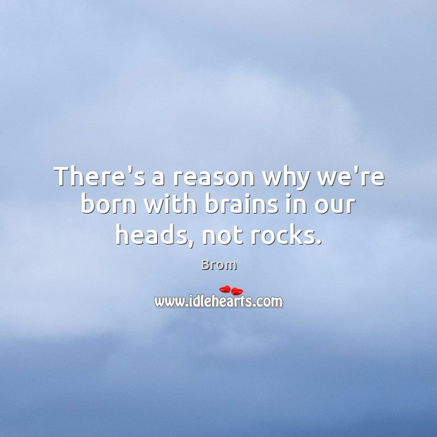 Image, There's a reason why we're born with brains in our heads, not rocks.
