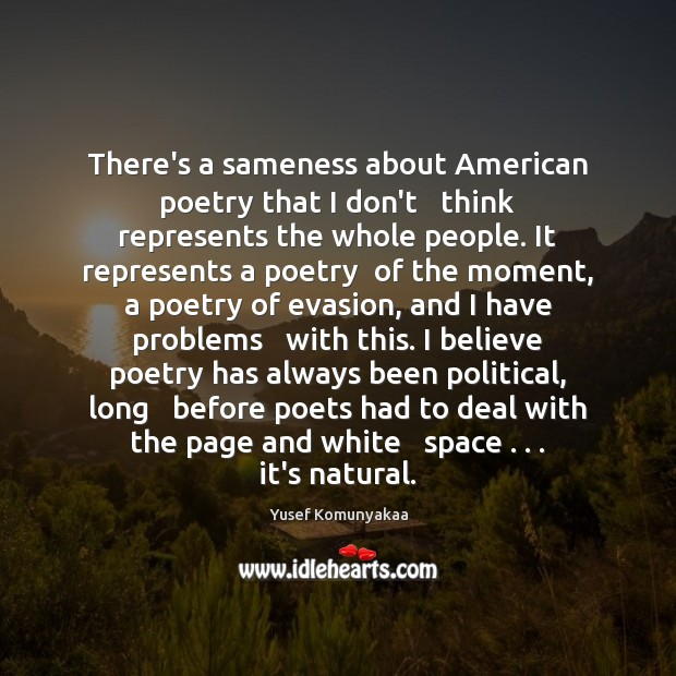 Image, There's a sameness about American poetry that I don't   think represents the