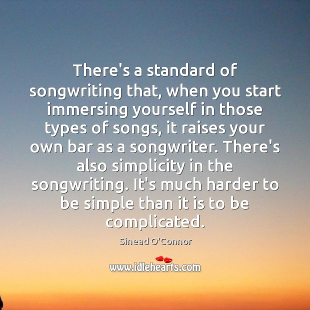 There's a standard of songwriting that, when you start immersing yourself in Sinead O'Connor Picture Quote