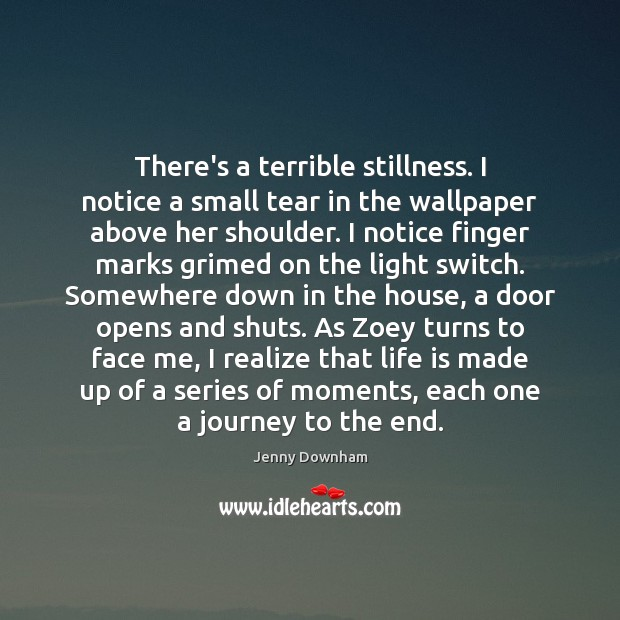 There's a terrible stillness. I notice a small tear in the wallpaper Jenny Downham Picture Quote