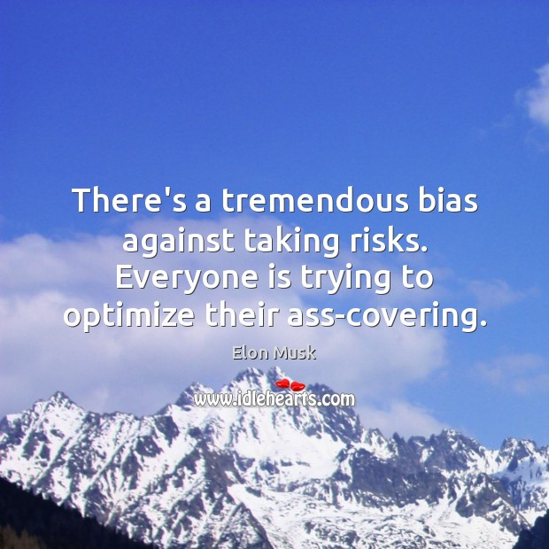 There's a tremendous bias against taking risks. Everyone is trying to optimize Elon Musk Picture Quote
