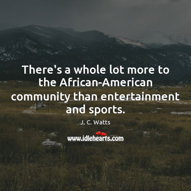 There's a whole lot more to the African-American community than entertainment and sports. Image