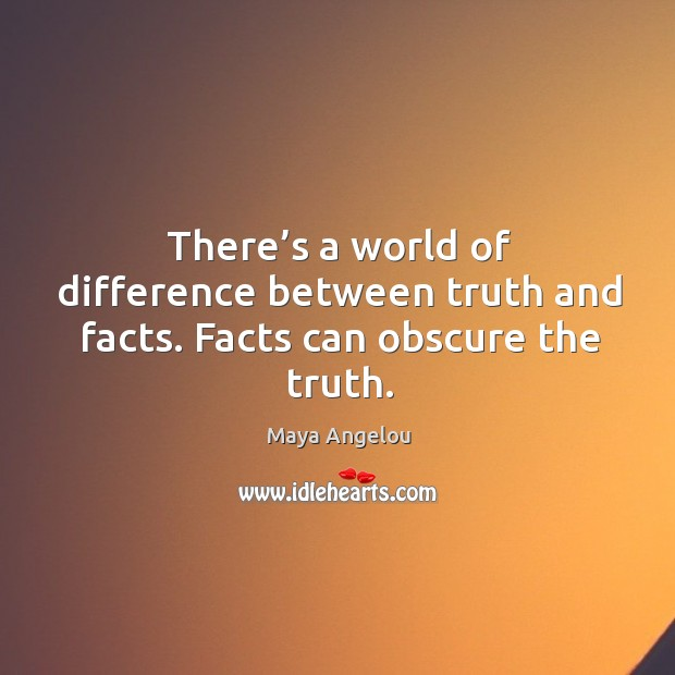 Image, There's a world of difference between truth and facts. Facts can obscure the truth.