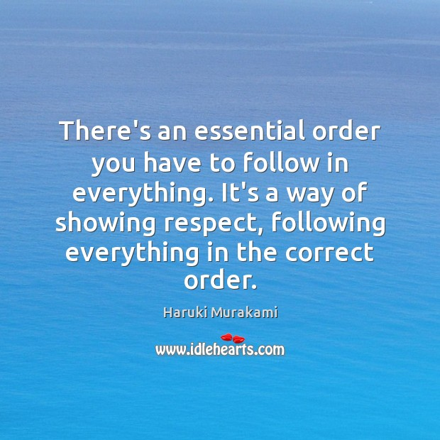 There's an essential order you have to follow in everything. It's a Image