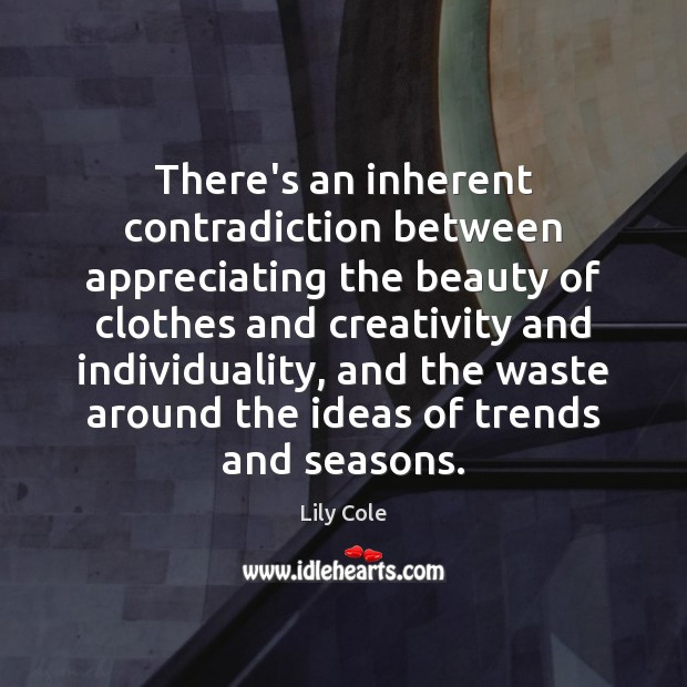 There's an inherent contradiction between appreciating the beauty of clothes and creativity Image