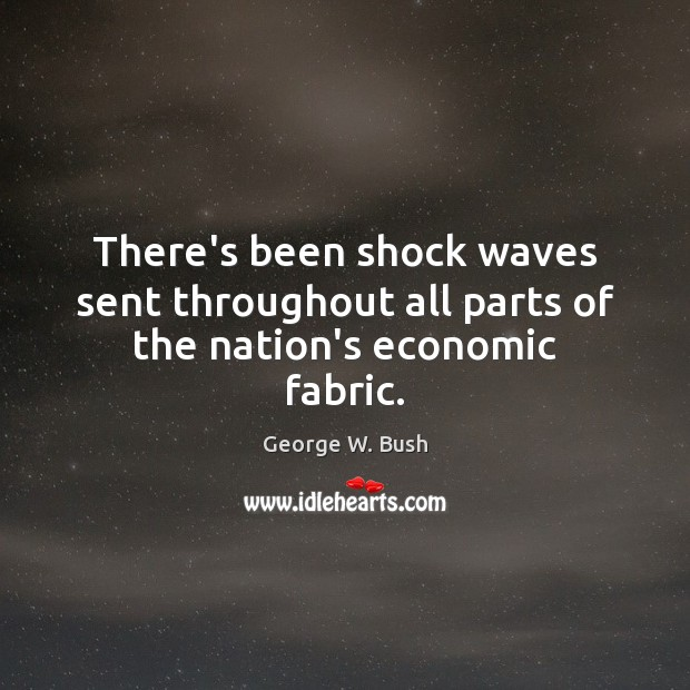 There's been shock waves sent throughout all parts of the nation's economic fabric. Image