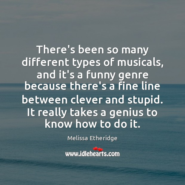 There's been so many different types of musicals, and it's a funny Melissa Etheridge Picture Quote