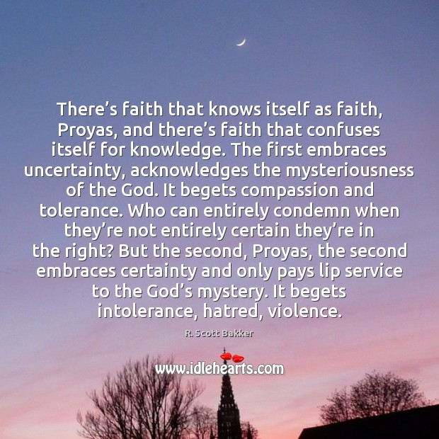 There's faith that knows itself as faith, Proyas, and there's Image