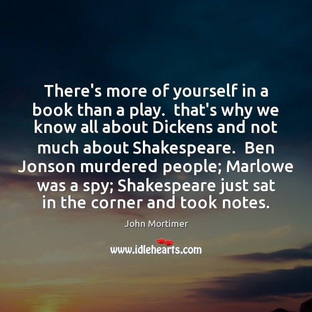 There's more of yourself in a book than a play.  that's why Image