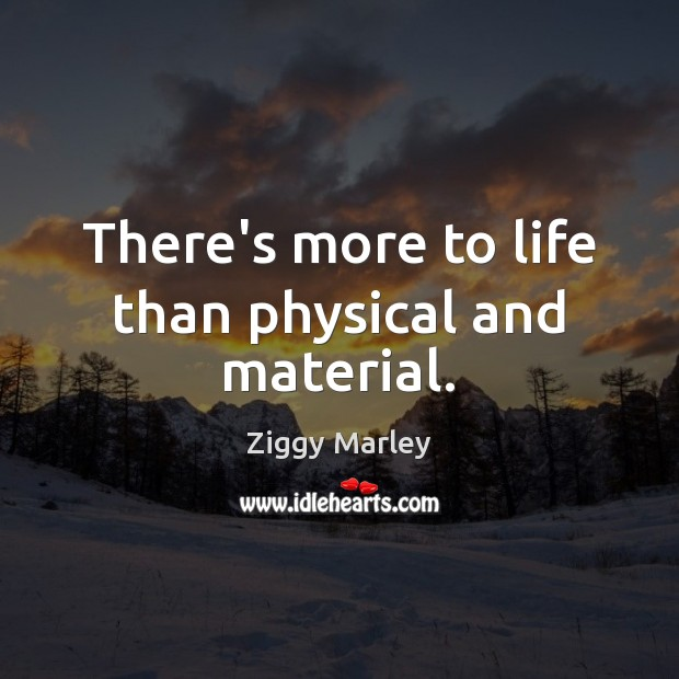 There's more to life than physical and material. Ziggy Marley Picture Quote