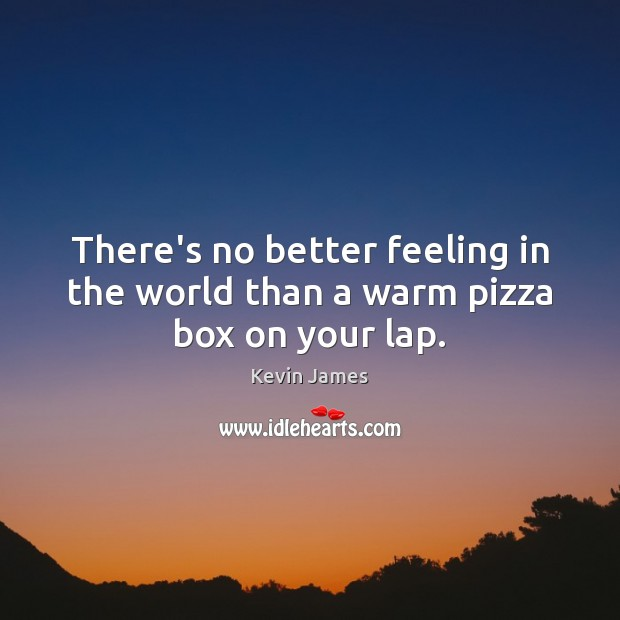 There's no better feeling in the world than a warm pizza box on your lap. Kevin James Picture Quote