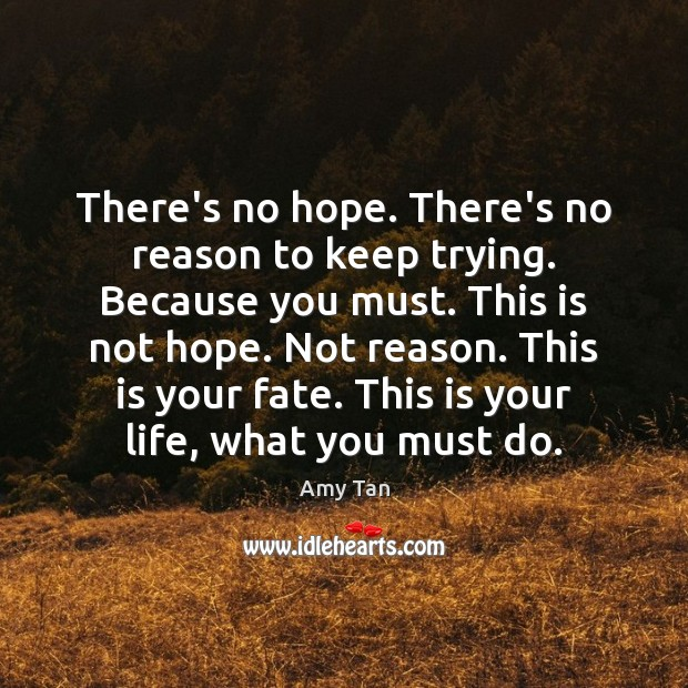 There's no hope. There's no reason to keep trying. Because you must. Image