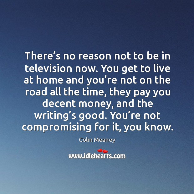 There's no reason not to be in television now. Colm Meaney Picture Quote