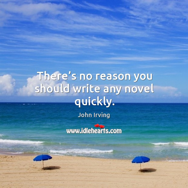 There's no reason you should write any novel quickly. Image