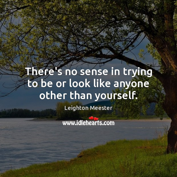 There's no sense in trying to be or look like anyone other than yourself. Leighton Meester Picture Quote