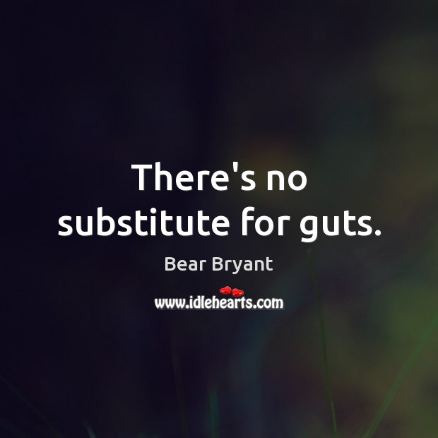 There's no substitute for guts. Bear Bryant Picture Quote