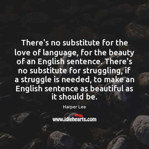 There's no substitute for the love of language, for the beauty of Image
