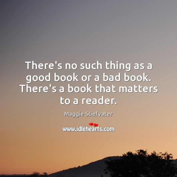 There's no such thing as a good book or a bad book. Maggie Stiefvater Picture Quote
